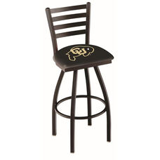 University of Colorado 25'' Black Wrinkle Finish Swivel Counter Height Stool with Ladder Style Back
