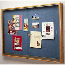 310 Series Bulletin Board Cabinet with 2 Locking Tempered Glass Doors - 72''W x 48''H