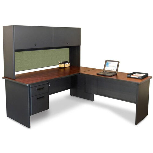 Pronto® Solid Steel Single Pedestal Desk with Flipper Doors and Return - Dark Neutral Frame with Mahogany Top with Peridot Fabric