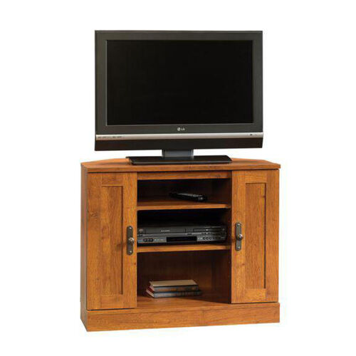 Harvest Mill 35.5''W Corner Entertainment Center with Adjustable Shelves - Abbey Oak
