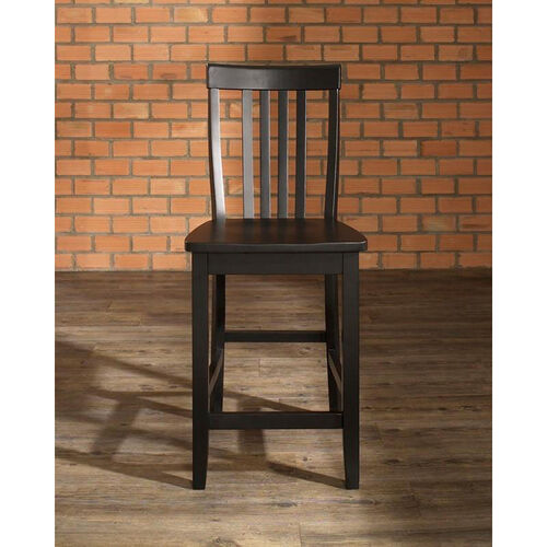 School House Bar Stool in Black Finish with 24'' Seat Height - Set of 2