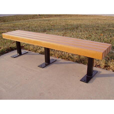 Trailside Recycled Plastic 6' Backless Bench with Black Steel Frame
