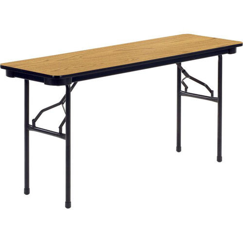 6000 Series Traditional Rectangular Folding Table with Medium Oak Top and Char Black Frame - 18''W x 60''D x 29''H