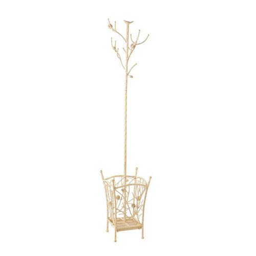Bird and Branch Distressed Finish Metal69.5''H Hall Tree with Umbrella Stand - French Vanilla