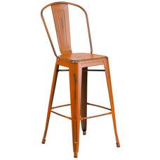 30'' High Distressed Orange Metal Indoor-Outdoor Barstool with Back