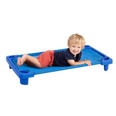 Blue Fully Assembled Single Toddler Stackable Streamline Cot - 40''D x 23''W x 5''H