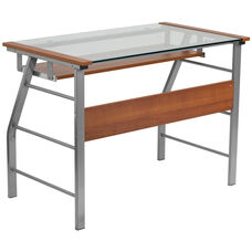 Glass Computer Desk with Pull-Out Keyboard Tray