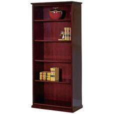 OSP Furniture 79''H Mendocino Hardwood Veneer 5-Shelf Bookcase