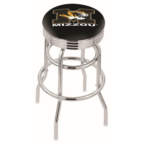University of Missouri 25'' Chrome Finish Double Ring Swivel Backless Counter Height Stool with Ribbed Accent Ring