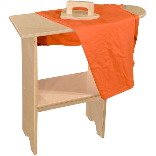 Pretend Play Healthy Kids Plywood Stationary Ironing Board with Iron - Assembled - 24''W x 8''D x 25''H