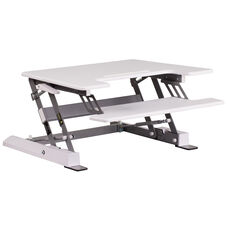 HERCULES Series 28.25''W White Sit / Stand Height Adjustable Desk with Height Lock Feature and Keyboard Tray