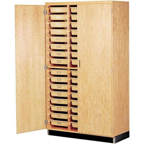 Science Lab Wooden Locking Storage Case with 48 Tan Fiberglass Tote Trays - 48''W x 22''D x 84''H