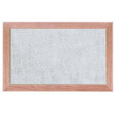 Burlap Weave Vinyl Bulletin Board with Red Oak Frame and Clear Lacquer Finish - Stone - 12''H x 18''W