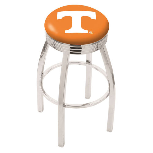 University of Tennessee 25'' Chrome Finish Swivel Backless Counter Height Stool with 2.5'' Ribbed Accent Ring