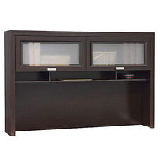 Tuxedo L-Shaped Computer Desk Hutch - Mocha Cherry