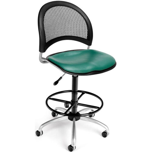 Moon Swivel Chair with Vinyl Seat with Drafting Kit - Teal