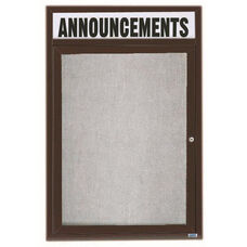 1 Door Outdoor Illuminated Enclosed Bulletin Board with Header and Bronze Anodized Aluminum Frame - 36''H x 24''W