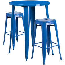 30'' Round Blue Metal Indoor-Outdoor Bar Table Set with 2 Square Seat Backless Stools
