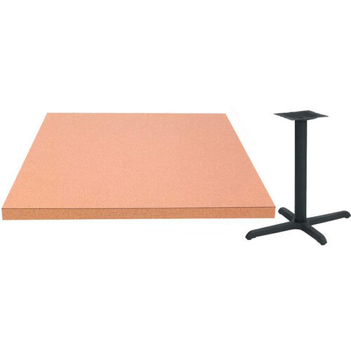 30'' Square Laminate Table Top with Self Edge and Base - Bar Height