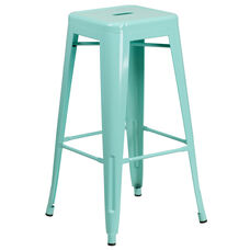 30'' High Backless Mint Green Indoor-Outdoor Barstool