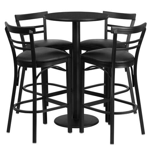 24'' Round Black Laminate Table Set with Ladder Back Metal Barstool and Black Vinyl Seat, Seats 4