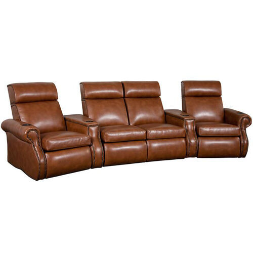 Bradford Four Seater Home Theater - Wedge Arm in Bonded Leather