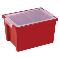 Large Extra Deep Plastic Storage Bin with Lid - Red - 13.75''W x 10.13''D x 8.38''H