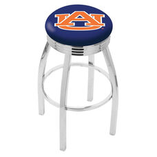 Auburn University 25'' Chrome Finish Swivel Backless Counter Height Stool with 2.5'' Ribbed Accent Ring