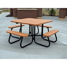 Recycled Plastic 4' T-Table with Black Steel Frame