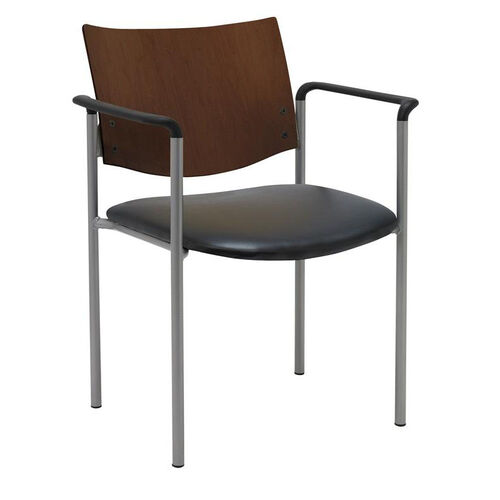 1300 Series Stacking Guest Armchair with Chocolate Wood Back - Vinyl Seat