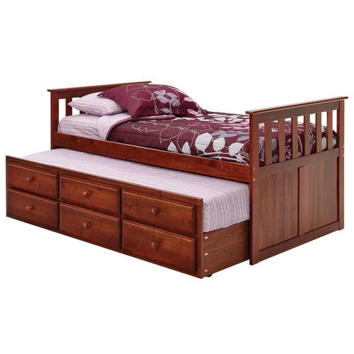Rustic Style Solid Pine Mission Style Captain's Bed with Trundle - Twin - Dark