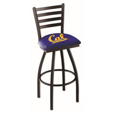 University of California Berkeley 25'' Black Wrinkle Finish Swivel Counter Height Stool with Ladder Style Back