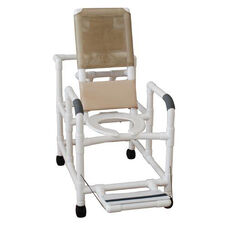 Reclining Shower Chair with Open Front Commode Seat and Folding Foot Rest with Casters - 24''W X 48''H