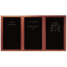 3 Door Enclosed Changeable Letter Board with Cherry Finish - 48''H x 96''W