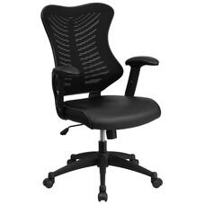 High Back Designer Black Mesh Executive Swivel Chair with Leather Seat and Adjustable Arms