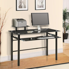 Janus Ergonomically Designed 46.25''W x 34.25''H Desk with Tempered Glass Top