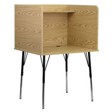 Study Carrel with Adjustable Legs and Top Shelf in Oak Finish