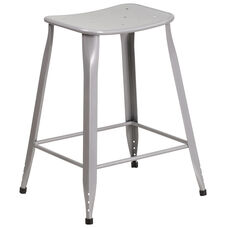 24'' High Silver Metal Indoor-Outdoor Counter Height Saddle Comfort Stool