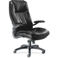 Mayline Group Ultimo High-Back Executive Chair with Padded Arms - Black Leather