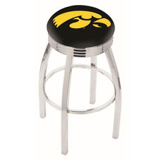 University of Iowa 25'' Chrome Finish Swivel Backless Counter Height Stool with 2.5'' Ribbed Accent Ring