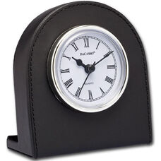 Classic Leather Desk Clock - Black with Silver Accents