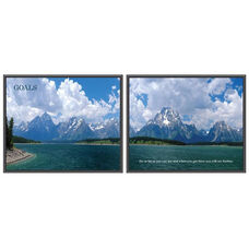 Advantus 30'' W x 24'' L Framed Panorama Motivational Art Prints Two Pack - Goals with Mountain Range