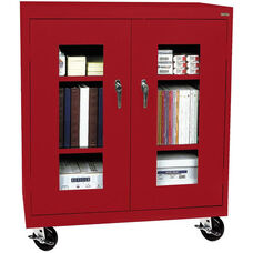 See-Thru Series 36'' W x 18'' D x 48'' H Clear View Mobile Counter Height Cabinet - Red