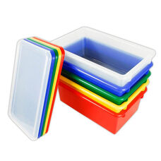 12 Pack Heavy Duty Stack and Store Tubs with Lids - Assorted Colors - 15.56''W x 8.63''D x 5.31''H