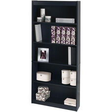 11.6''L x 29.5''W x 72''H Standard Laminate Bookcase with Adjustable Shelves - Charcoal