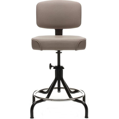 Low Range Drafting Stool with Manual Height Adjustment and Four Legged Base - Black
