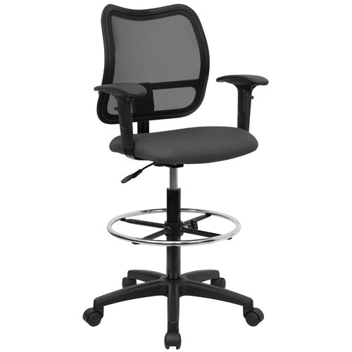 Mid-Back Gray Mesh Drafting Chair with Adjustable Arms