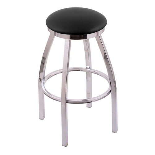 Misha 25'' Chrome Finish Swivel Counter Height Stool with Black Vinyl Seat
