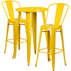 24'' Round Yellow Metal Indoor-Outdoor Bar Table Set with 2 Cafe Stools