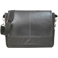 Laptop Messenger Bag - Genuine Leather - Black